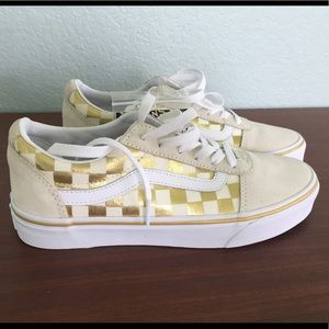 NEW Women's Checkerboard Vans Off White Size 7.5